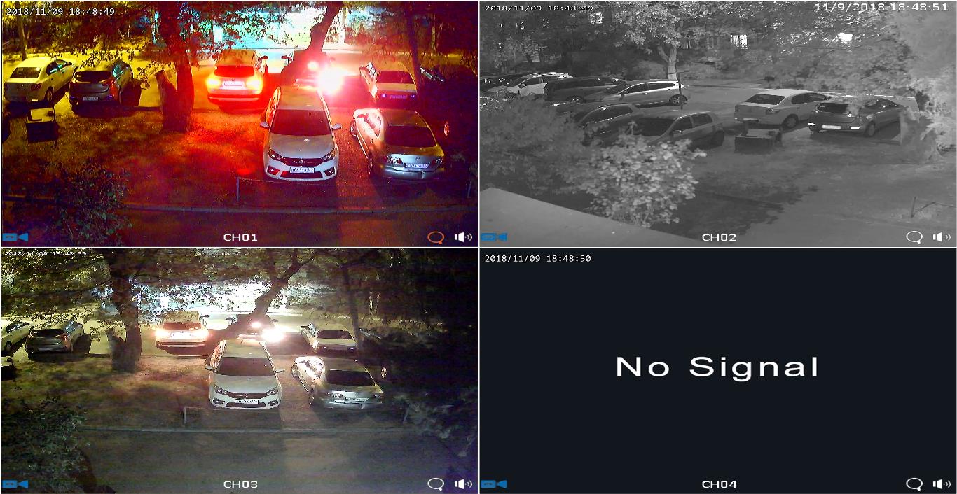 Пример работы видеокамеры CAICO-TECH AHD STARLIGHT 2MP CAICO TECH FY-6502(60MT) в цвете   в условиях сложного уличного освещения