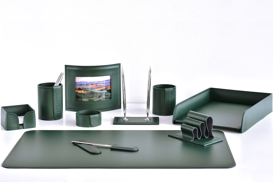 набор на письменный стол зеленый с фоторамкой кожаный