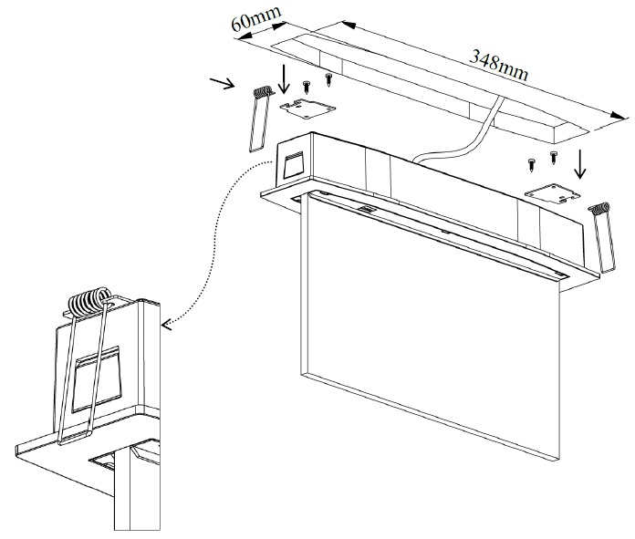Встраиваемый монтаж аварийного эвакуационного светового указателя Suprema LED D-eco PT IP44 в подвесной потолок