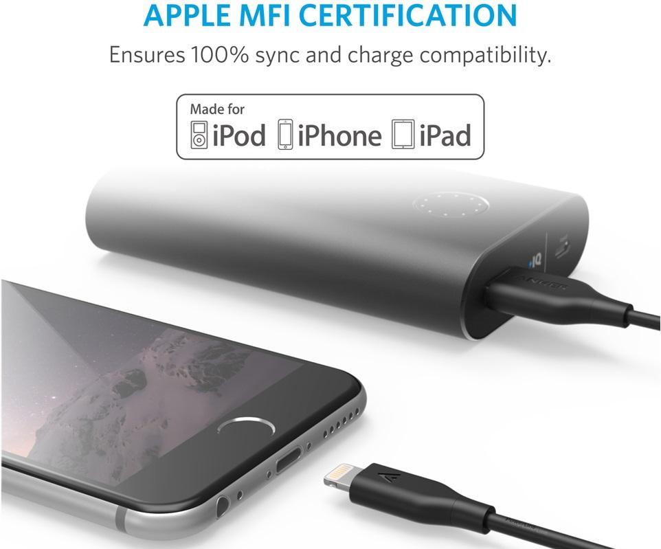 Anker PowerLine cable Lightning - Кевларовый кабель для синхронизации Apple iPhone, iPad и iPod с разъёмом Lightning.