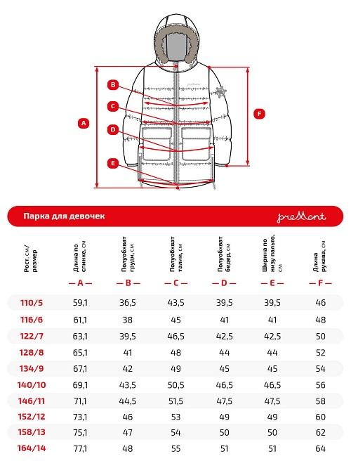 Размерная сетка куртки Premont Флаппер пай WP91471