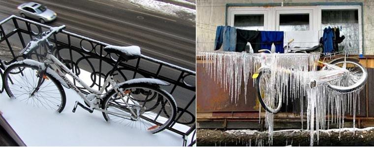 Велосипеди на відкритих балконах