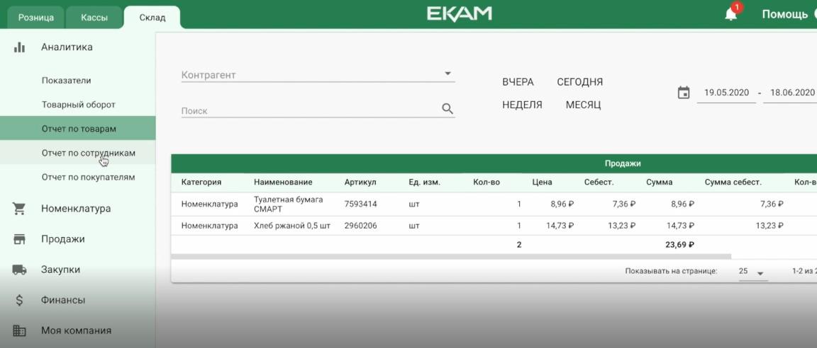 Детализированный отчет по товарам в ЕКАМ