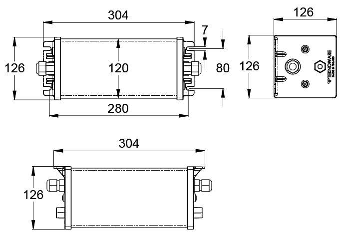 Монтажные размеры для аварийных светильников IP67 ROBUST-95 Teknoware