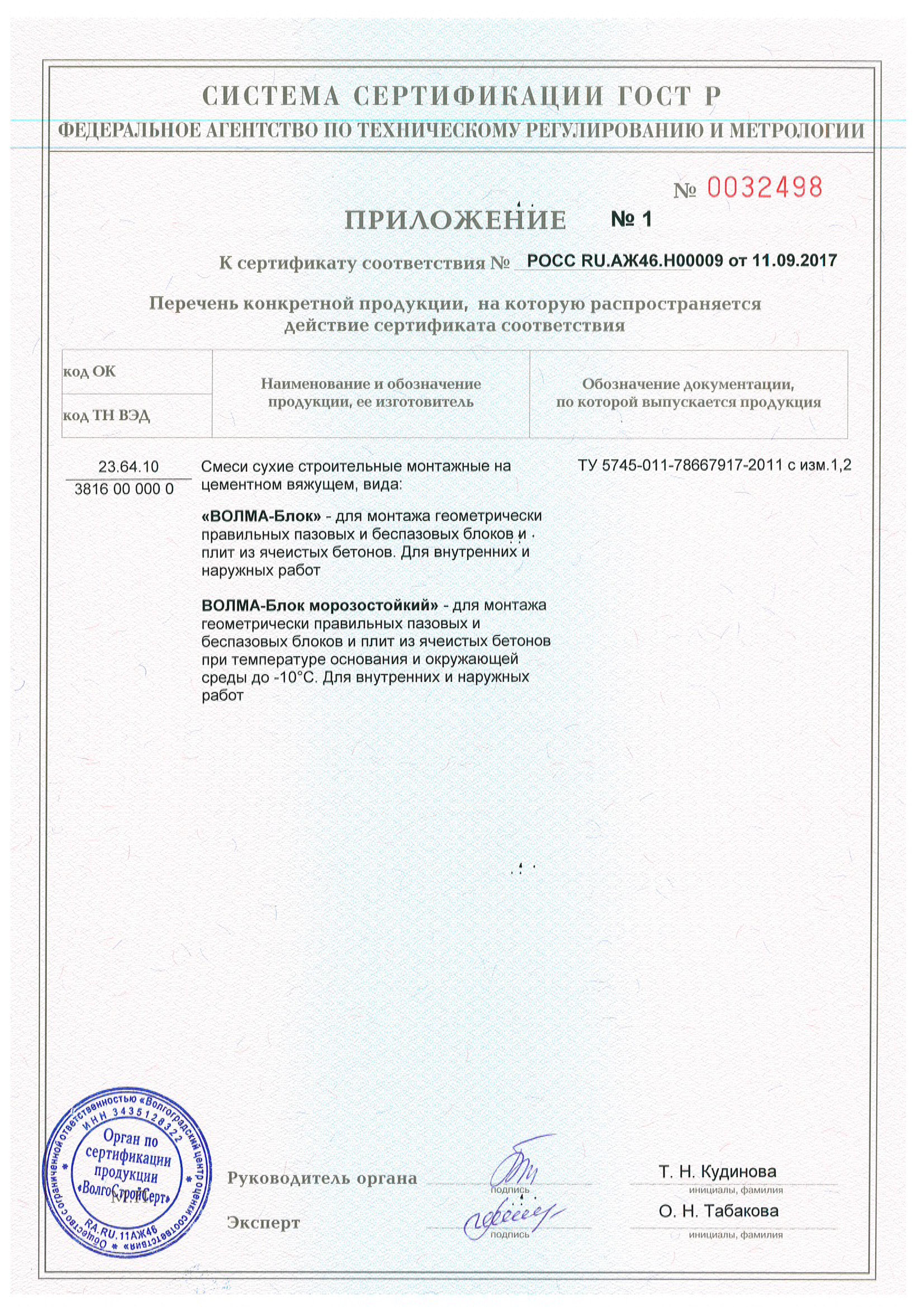 Сертификат клей Волма