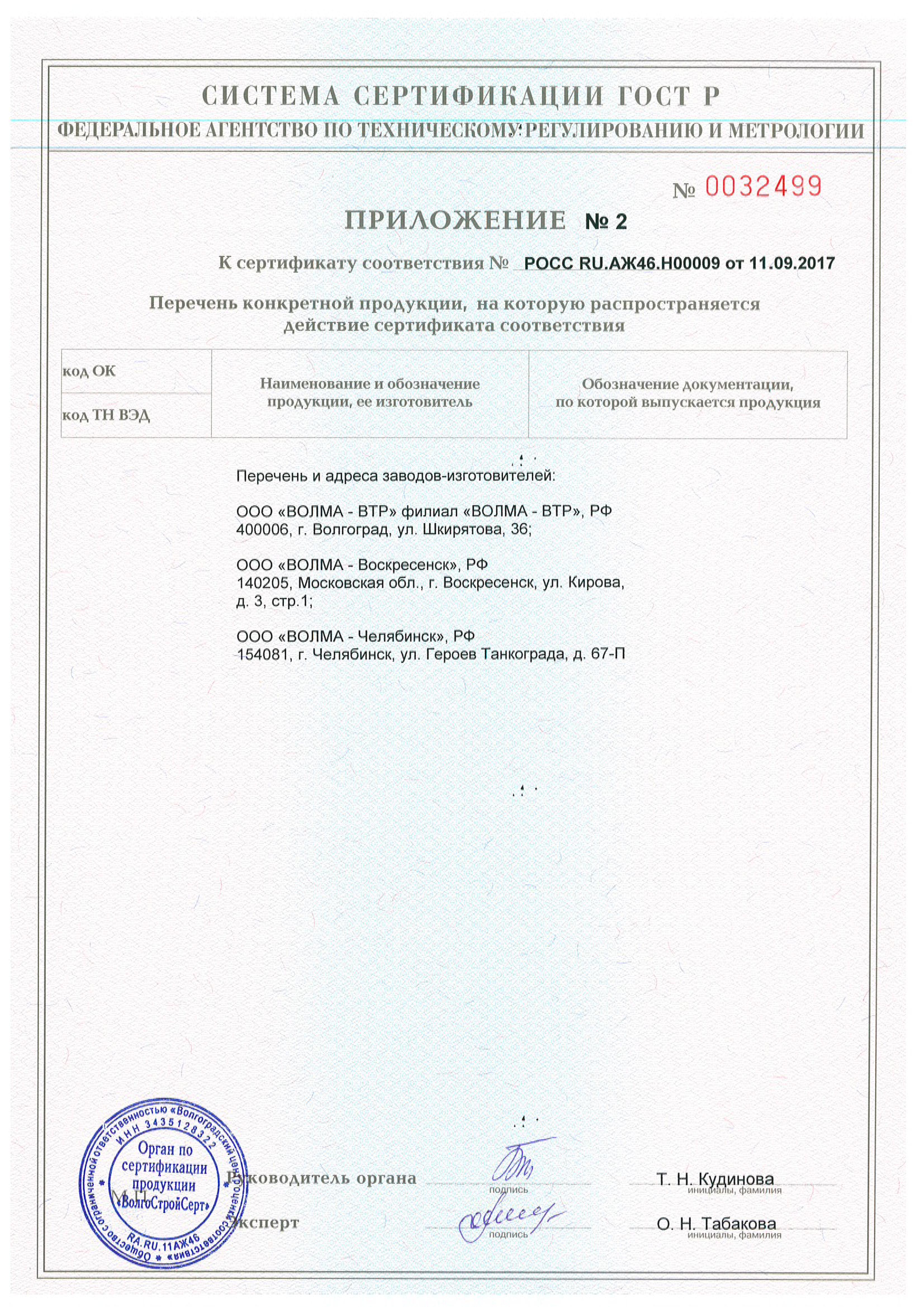 Сертификат клей волма 2