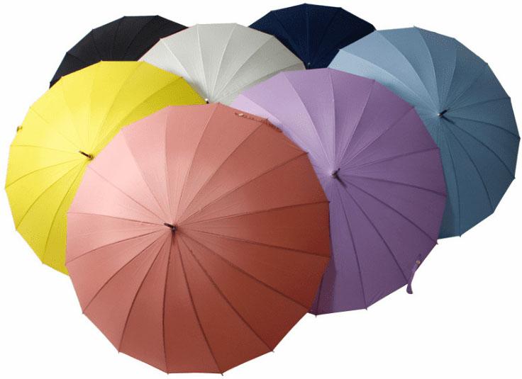 Зонт трость фиолетовый с бамбуковой ручкой | ZC bamboo umbrella handle
