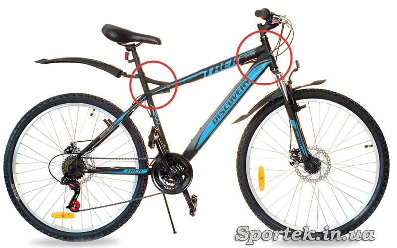 Усиленная стальная рама на велосипеде Discovery Trek DD 2016.