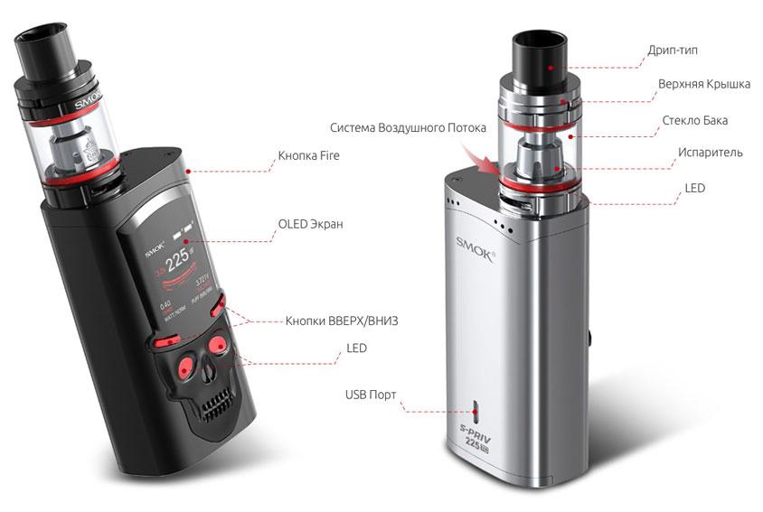 Строение SMOK S-Priv + TFV8 Big Baby Light Edition Kit