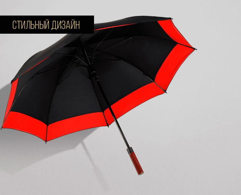 Зонт трость черно-красный   ZC Niello