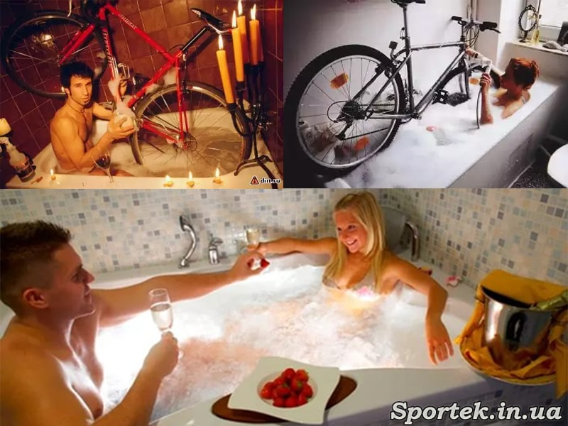мытье велосипеда в ванной