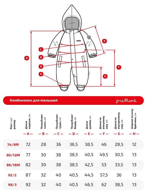 Размерная сетка комбинезона Premont Дождливый Ванкувер SP71023
