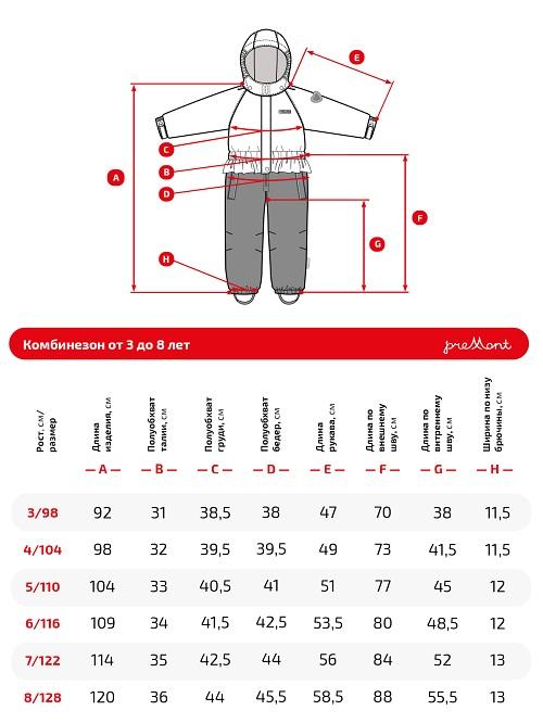 Размерная сетка комбинезона Premont SP71131 Парк Райдинг Маунтин