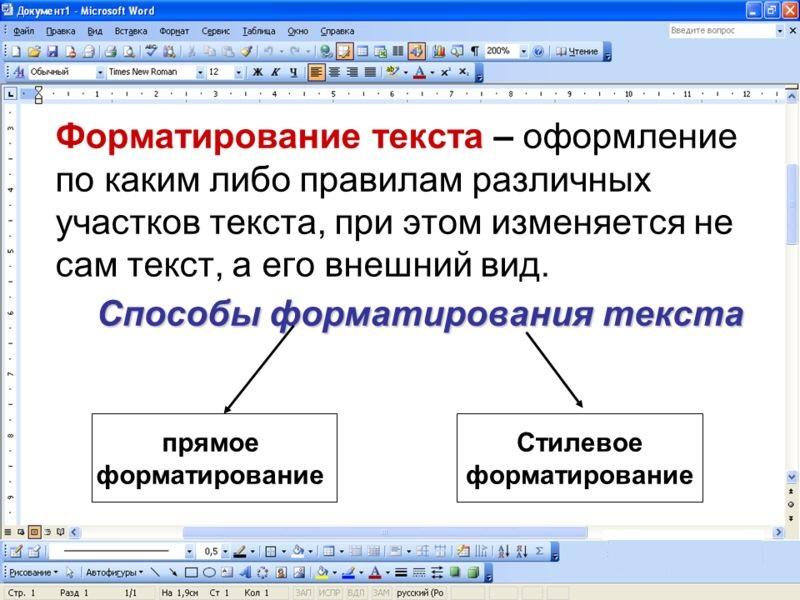 форматирование текста