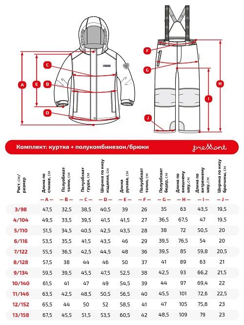 Размерная сетка комплекта Premont Фиеста SP71240