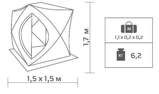 Helios Куб 1.5х1.5. Размеры