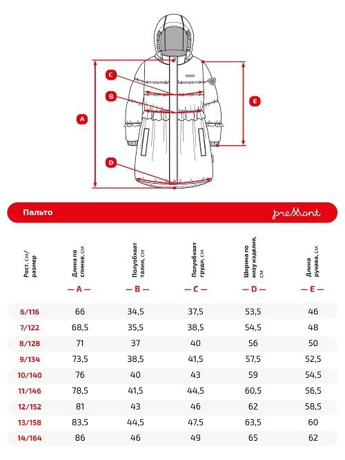 Размерная сетка пальто Premont SP71311 Малиновый рассвет