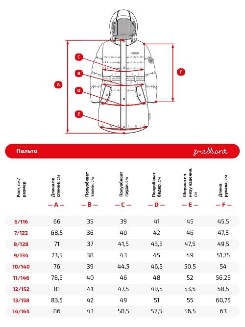 Размерная сетка пальто Premont SP71312 Сахарная вата