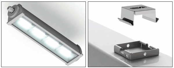 Потолочный держатель входит в комплект поставки аварийного светильника освещения производственных помещений Acciaio Emergency LED