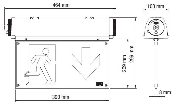 Размеры аварийного светильника освещения производственных помещений Acciaio Emergency LED в сборе с двухсторонним эвакуационным табло