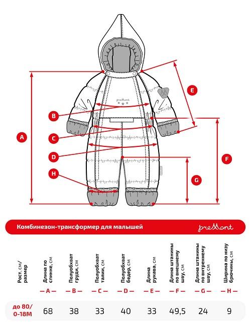 Размерная сетка комбинезона Premont Звездочет WP92062