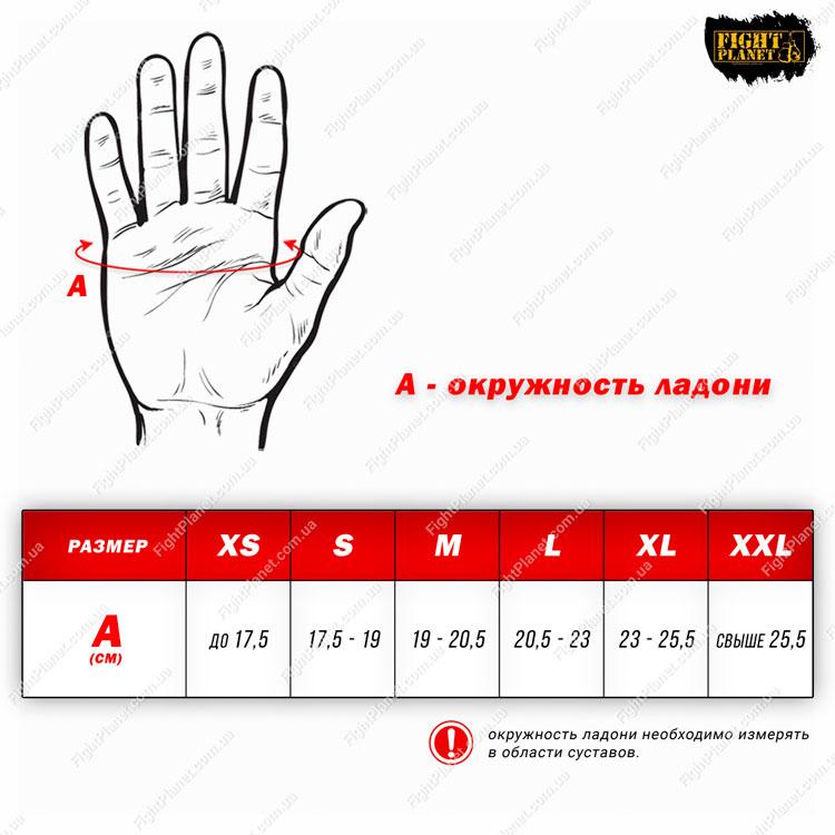 Размерная сетка, таблица перчатки MMA Everlast Pro