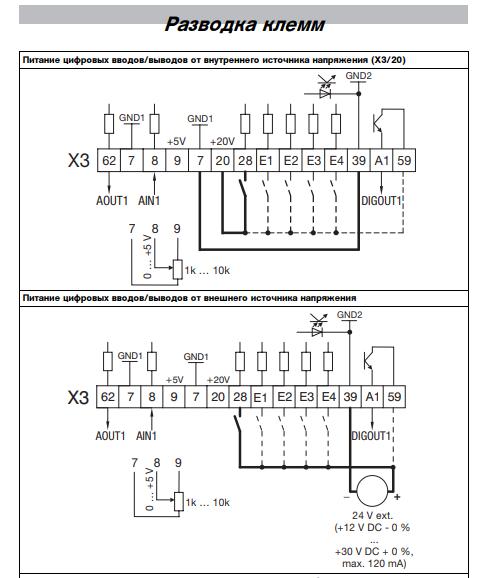 Разводка клеймм модуля ввода/вывода  Lenze E82ZAFSC100