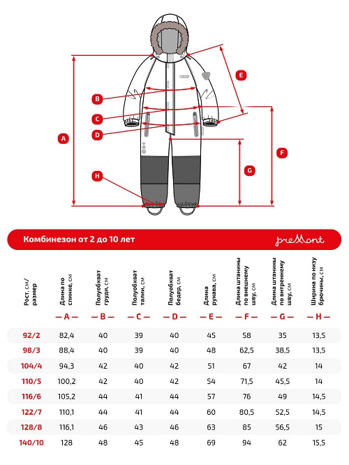 Размерная сетка комбинезона Premont Лес Уайтхорса WP92176