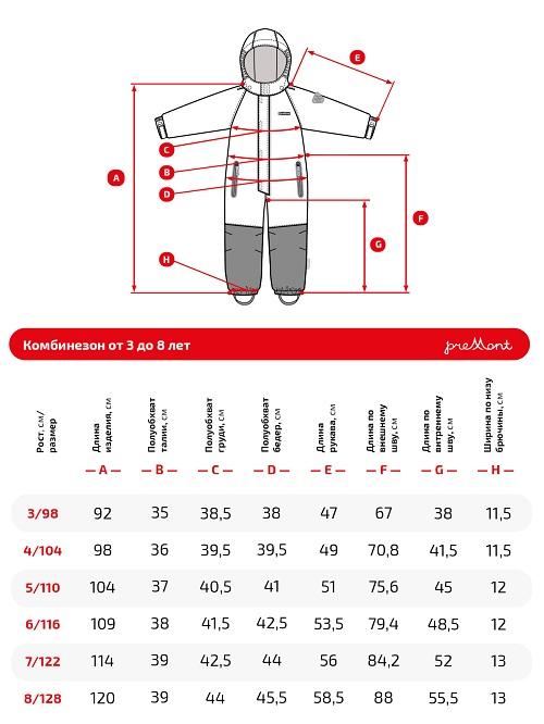 Размерная сетка комбинезона Premont Гурон Лэйк SP72133