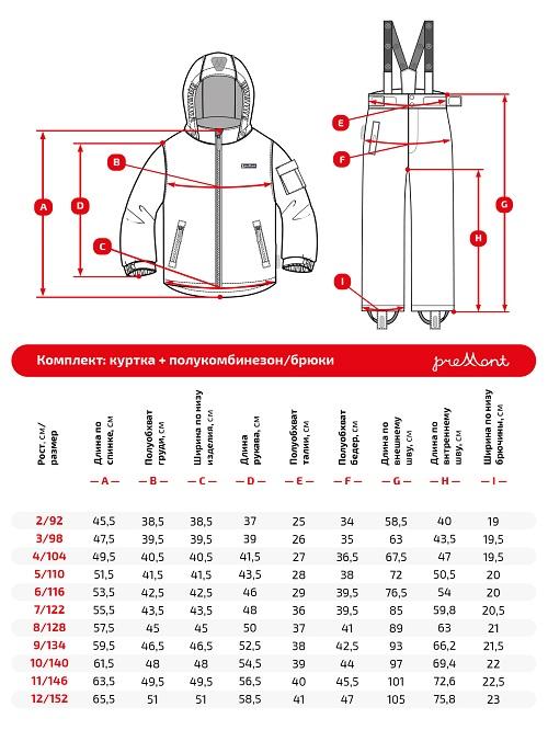 Размерная сетка комплекта Premont SP72241 Атлантический финвал