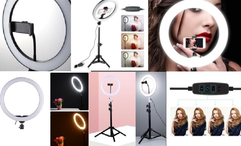 Кольцевая светодиодная лампа для визажистов, макияжа и селфи Ring Fill Light 26 см на штативе