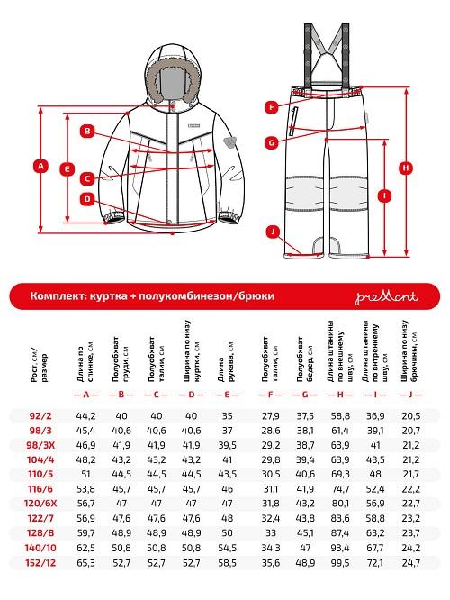Размерная сетка комплекта Premont Питерборо WP92261