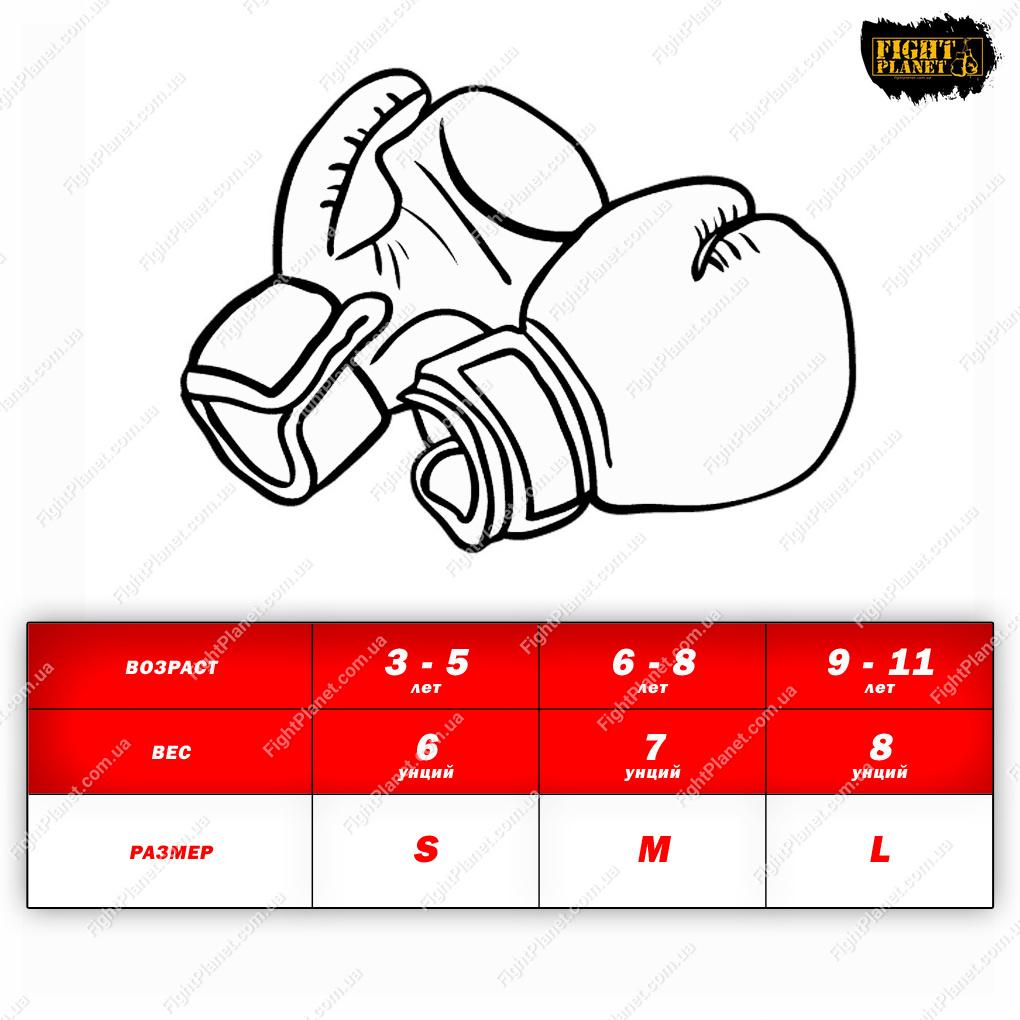 Размерная сетка детских боксерских перчаток Venum