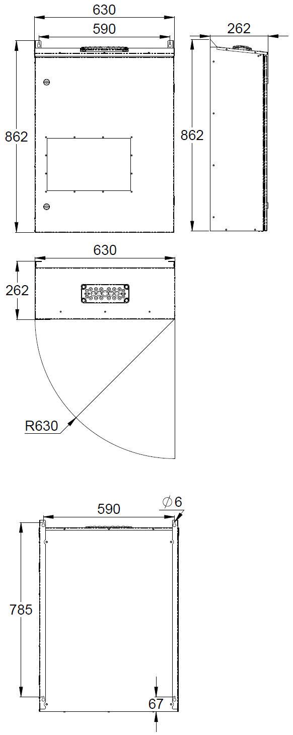 Монтажные размеры блока централизованной системы аварийного освещения 220В TKT65B Teknoware с открывающейся передней дверцей