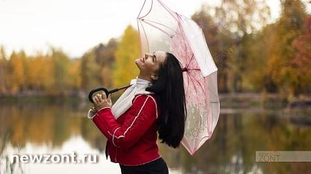 прозрачно-розовый зонт-наоборот