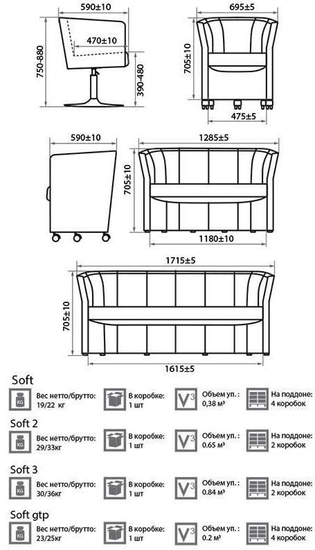 Кресло_диван Софт размеры