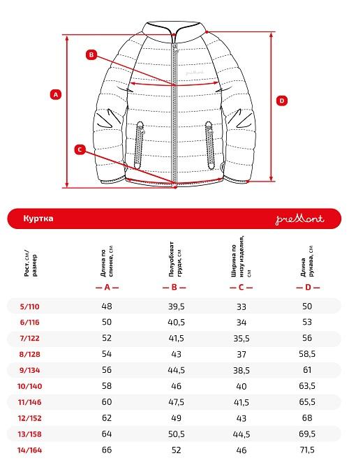 Размерная сетка куртки Premont SP72436 Солидаго