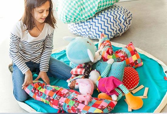Игровые коврики-мешки Play&Go сделаны из натуральных и синтетических материалов — чистого хлопка и полиэстера.