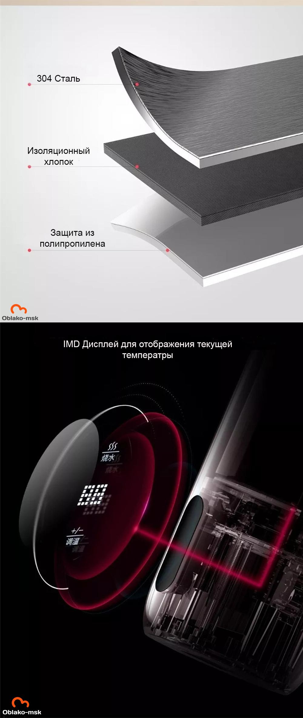 Термос Xiaomi Mijia Deerma 350ML Smart Water Bottle