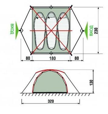 Палатка для путешествий RockLand Ranger 3, 320x230x130 см. Размеры.
