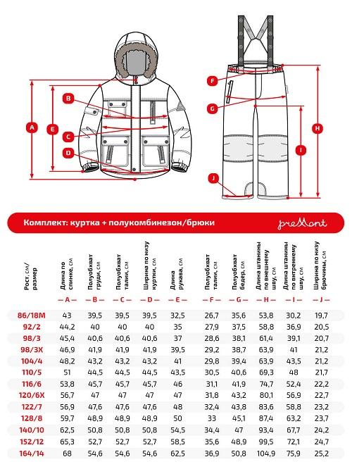Размерная сетка комплекта Premont Пик Логан WP92265