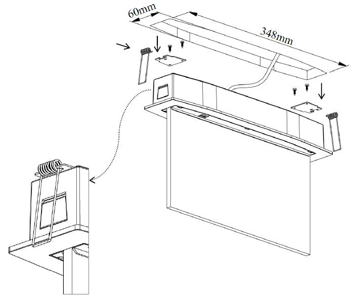Встраиваемый монтаж светового указателя Suprema LED D-std PT в подвесной потолок