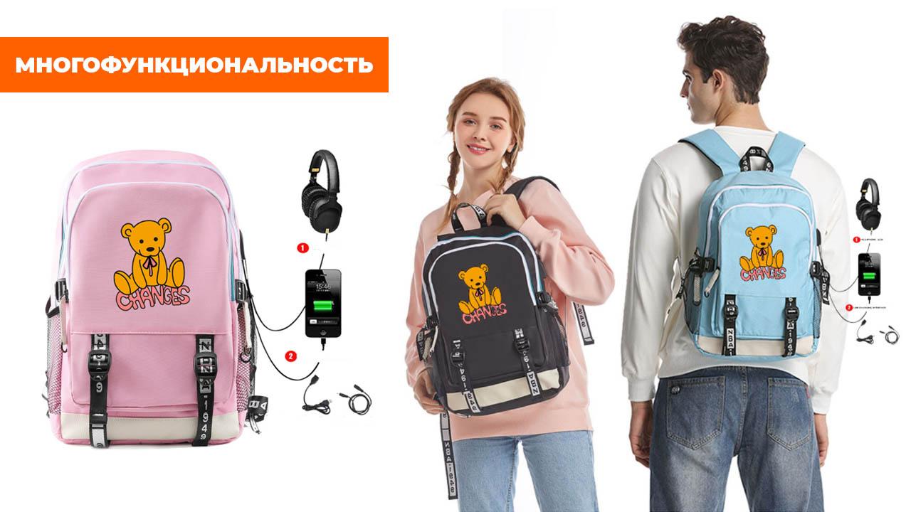 """Рюкзак """"Мишка"""" на розовом фоне"""