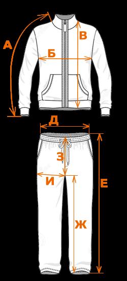 Схема измерений спортивных костюмов для женщин, девушек и девочек подростков