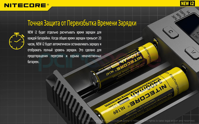NEW i2 будет отдельно расчитывать время зарядки для каждой батарейки. Когда общее время зарядки превысит 20 часов, NEW i2 будет автоматически останавливать зарядку и отображать полный уровень зарядки. Это сделано для предотвращения перегрева и взрыва некачественных батареек.