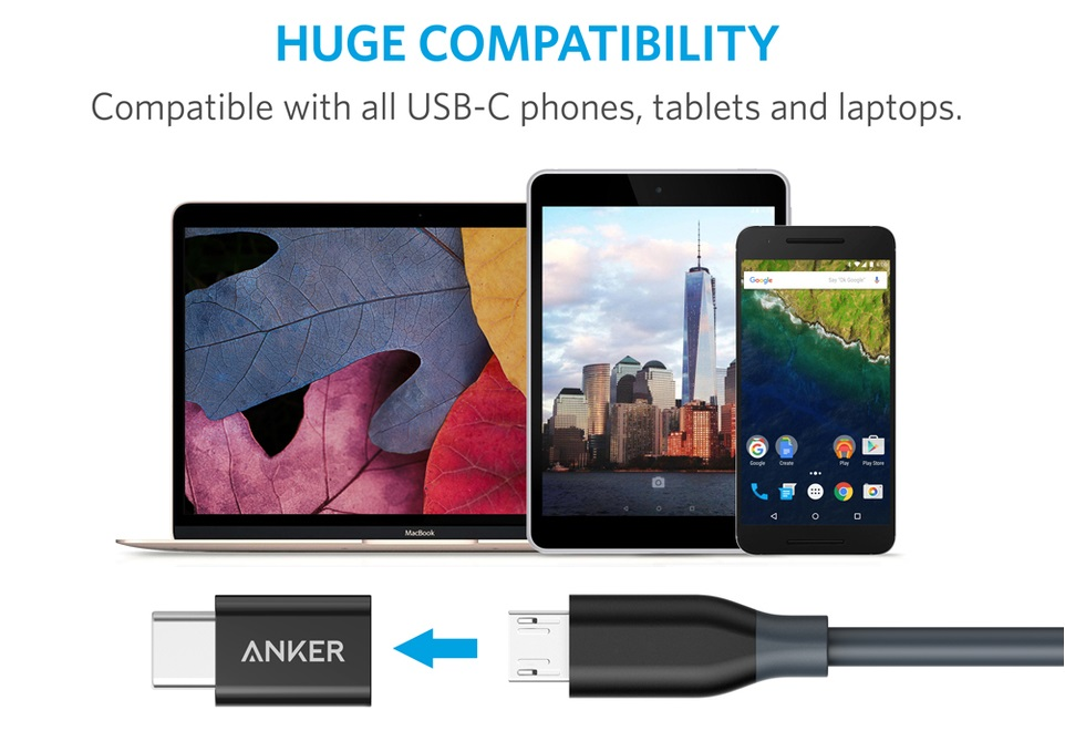 Anker [2-Pack] PowerLine USB-C to Micro USB Female Adapter
