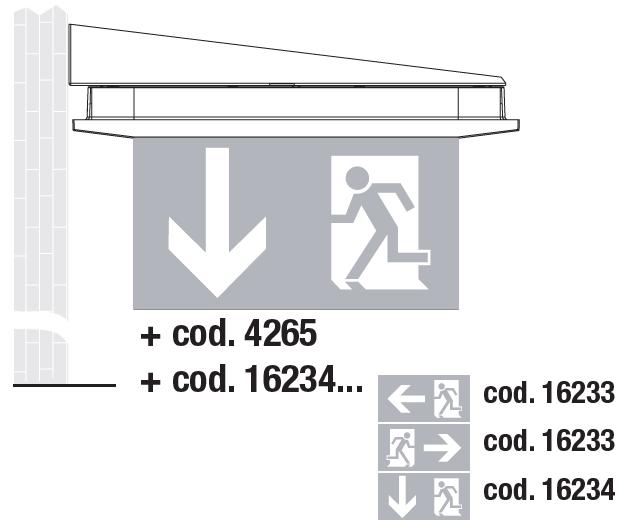 Настенный монтаж в виде флага светового указателя направления эвакуации Aestetica LED с дополнительным двухсторонним табло