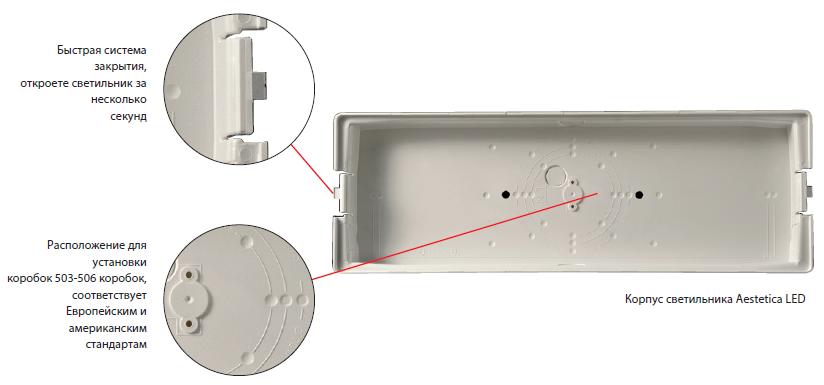 Монтажная коробка светового указателя направления эвакуации Aestetica LED