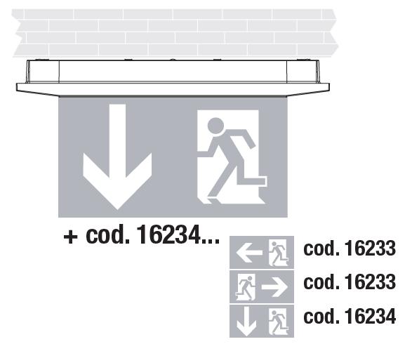 Накладной монтаж светового указателя направления эвакуации Aestetica LED с дополнительным двухсторонним табло