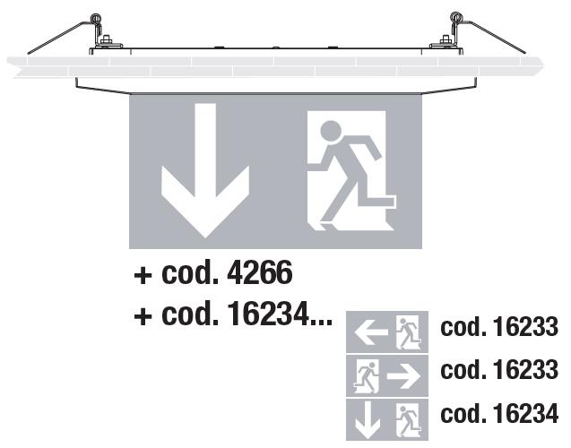 Встраиваемый монтаж светового указателя направления эвакуации Aestetica LED с дополнительным двухсторонним табло